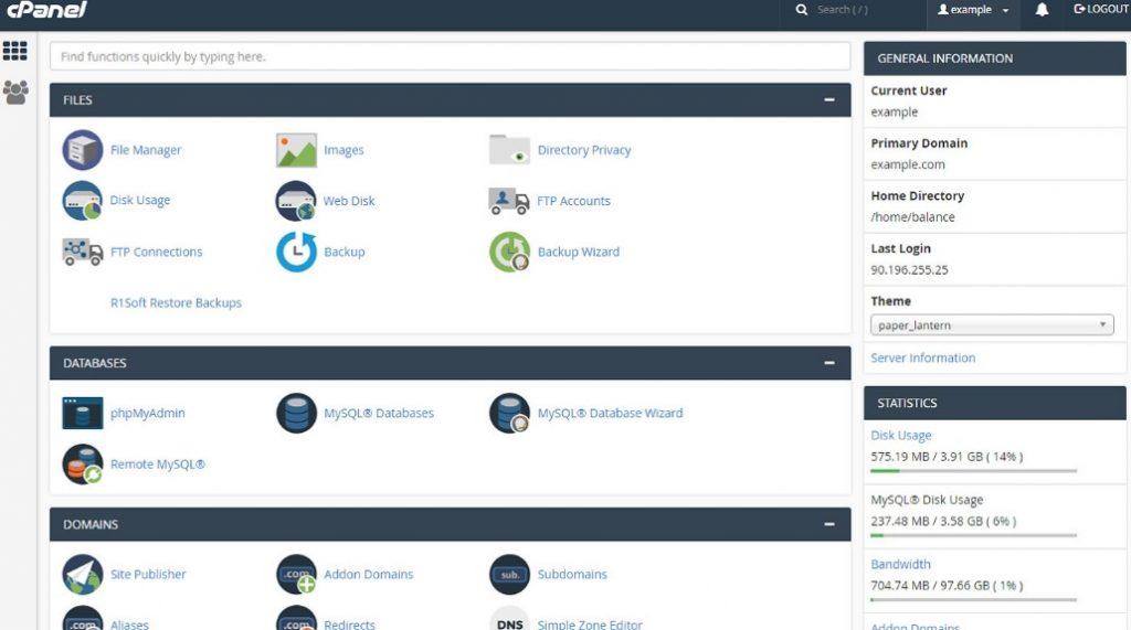 cPanel sučelje za upravljanje web hostingom